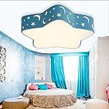 Lampada da soffitto a LED 24W con design a stella e luna Lampadario protezione occhi da parete a led Lampada romantica per camera da bambini , soggiorno, Camera da letto, Sala giochi (Blu)