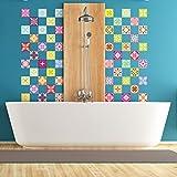 60 Stickers adhésifs carrelages   Sticker Autocollant Carrelage - Mosaïque carrelage mural salle de bain et cuisine   Carrelage adhésif - multicouleur arabesques - 10 x 10 cm - 60 pièces
