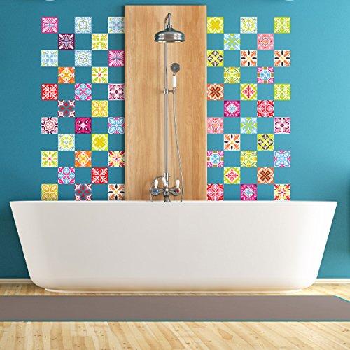 60 Stickers adhésifs carrelages | Sticker Autocollant Carrelage - Mosaïque carrelage mural salle de bain et cuisine | Carrelage adhésif - multicouleur arabesques - 10 x 10 cm - 60 pièces