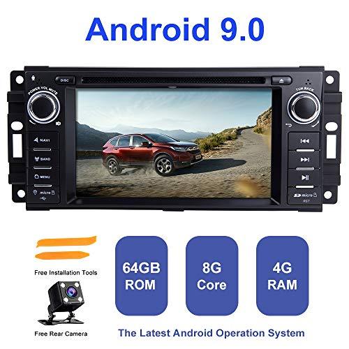 Android Autoradio Stereo, ZLTOOPAI Für Dodge Ram Challenger Jeep Wrangler JK Einzel Din Head Einheit Android 9,0 Octa Core 4G RAM 64G ROM Auto Stereo GPS Radio Mit Kostenlose Rückfahrkamera (Jeep Grand Cherokee Radio-bildschirm)