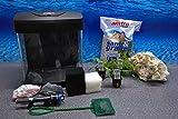 Nano Aquarium Set XCube Komplettset schwarz Cube | 26 Liter Becken inkl. Deko, Pflanzen, LED und Mondlicht | Für Anfänger geeignet