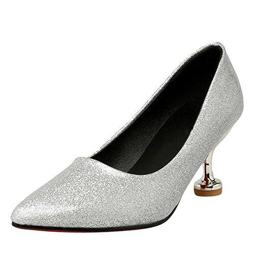 MissSaSa Donna Scarpe col Tacco Nuovo Moda Sottile Silver