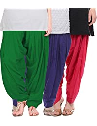 Crafts 100% Pure Solid Cotton Semi Patiala Salwar Bottoms Indoor Outdoor For Women's & Girls( Color Green / Purple...