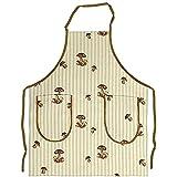tablier de cuisine mushrooms on olive ecru stripe