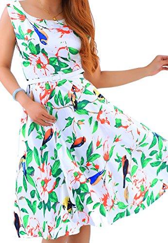 OMZIN Damen Cocktailkleid 50er Retro Partykleider Knielanges Blumenkleid Rockabilly Kleid,Grün,M