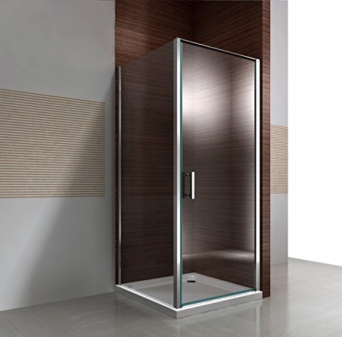 Duschkabine Eckdusche 8 mm Nano Echtglas DX416 - Breite Wählbar, Breite Türelement:90cm, Breite Glas feststehend:80cm