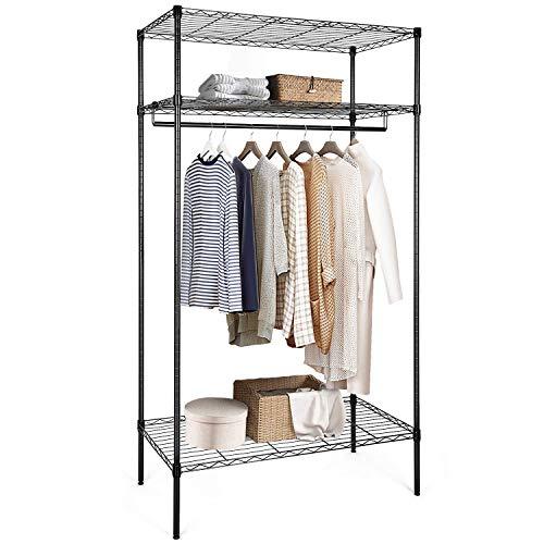 amzdeal Kleiderständer Metall Kleiderschrank Multifunktionale Kleiderstange mit 3 Ablagen, Kleiderregal für Aufbewahrung(schwarz)