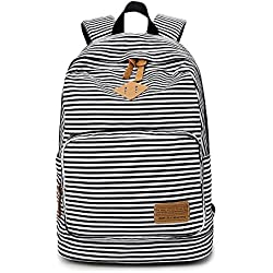 Minetom Tela Tejida Lona Backpack Mochilas Escolares Mochila Escolar Casual Bolsa Viaje Moda Mujer Colorido Rayas Negro One Size(29*17*45 Cm)