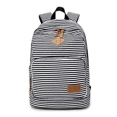 Imagen de minetom tela tejida lona backpack  escolares  escolar casual bolsa viaje moda mujer colorido rayas negro one size 29*17*45 cm