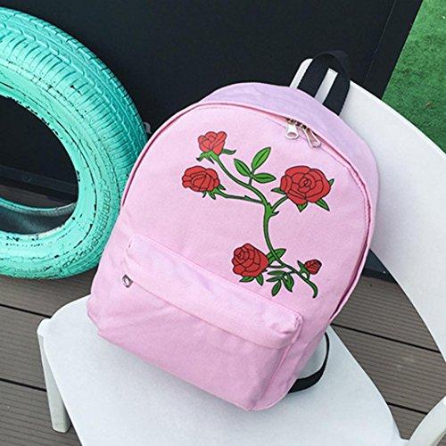 Borse a spalla,Kword Donna Ragazza Rosa Fiori Scuola Borsa Tela Viaggio Zaino Borsa Stile Preppy Rosa