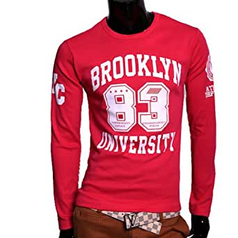 Herren Brooklyn Sweatshirt 100% Baumwolle Pulli Pullover Neu (S, Pink)