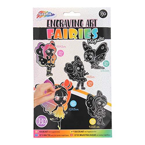 Grafix Scratch Set Feen, mit Magneten, 10er Set, Kratzbilder -