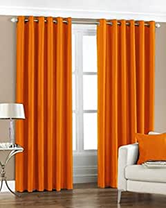 Super India Plain Faux Silk 2 Pieces Eyelet Long Door Curtain, Polyester Plain Ringtop - 4 x 9ft in Orange