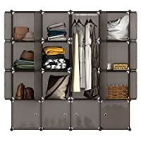 LANGRIA 16 Cube Organiser Stackable Plastic Cube Storage Shelves Design Multifunctional Modular Wardrobe Cabinet with Hanging Rod for Clothes Shoes Toys Bedroom Living Room (Transparent Brown)