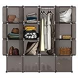 LANGRIA Regalsystem Kleiderschrank 16 Kubus Garderobenschrank für Aufbewahrung Kleidung, Schuhe, Spielzeug und Bücher (Braun)