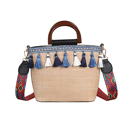 Zegeey Sac de paille de femmes de plage vintage style ethnique sac de plage de gland de ruban sac de messenger Petit sac à bandoulière en diagonale Sac pompon sauvage Sac à main épaule diagonale