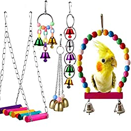 Duk3ichton Parrot Toy 5Pcs / Set Colorful Swing Hanging Bell Amaca Bird Parrot Stand Scaletta Toy Set
