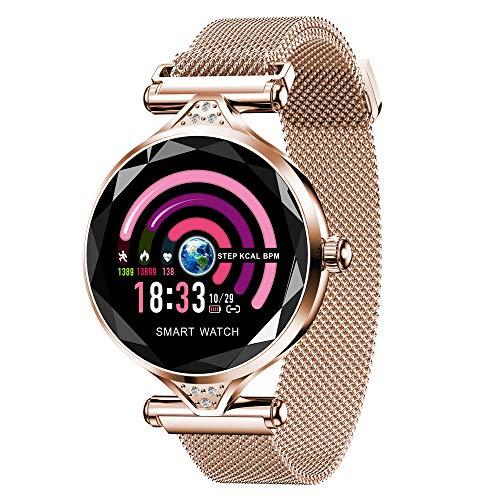 Miya Sports Smartwatch Damen Wasserdicht Farbe Bildschirm Fitness Smartwatch mit Blutdruck-Test Pulsmesser Smart Womens Armband Vorhersage Menstruationszyklus Fitness Schrittzähler Gold