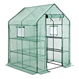 SONGMICS Garden Greenhouse, Walk-in Plant Shed with 10 Shelves, Roll-up Door, Grow House for Outdoors, Patio, Terrace, Backyard, 143 x 143 x 195 cm, Green GWP12GN