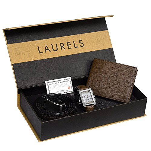 Laurels-Brown-Mens-Wallet-Watch-Belt-Combo