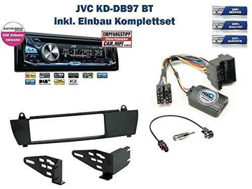 BMW X3 E83 (ohne Werkseitiger Navi) Autoradio Einbauset *Schwarz* inkl. JVC KD-DB97BT (DAB+) und Lenkrad Fernbedienung Adapter