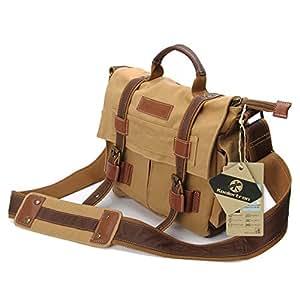 Koolertron Canvas DSLR SLR Camera Shoulder Bag Camera Case Casual Messenger Bag with Shakeproof Inner for Sony Canon Nikon Olympus