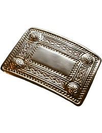 Hebilla de cinturón para kilt escocés - Diseño celta y escocés con tachones - Cromo