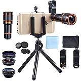 APEXEL 4 In 1 Clip-On Phone Lens Kit,12X Telescope Camera Lens+198 Degree Fisheye