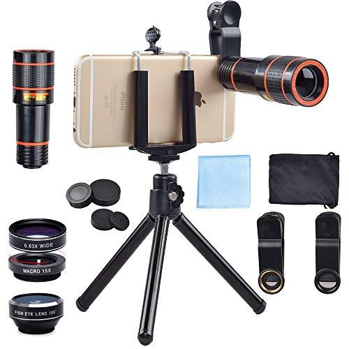 APEXEL - 4 in 1 kit obiettivo, 12X obiettivo per telescopio + 198 ° Fisheye + 0.63X grandangolare e obiettivo macro 15X con mini treppiede per iPhone Samsung e la maggior parte degli smartphone