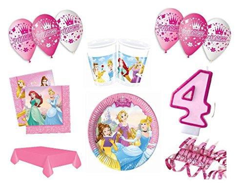 XXL Party Deko Set 4.Geburtstag Disney Princess pink Kindergeburtstag für 8 Personen rosa Mädchen Party Deko Geschirr