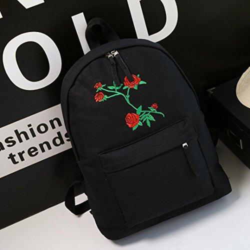 Longra La borsa delle donne ha ricamato la borsa del sacchetto di spalla dello zaino di corsa 3 pezzo Nero
