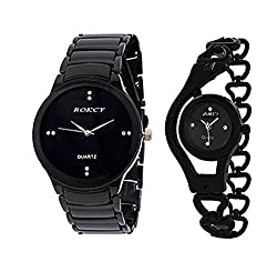 ROKCY Analogue Black Dial Watch - II-BL (Couple Watch) For-Girl,s & Boy