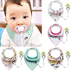Baby Bibs With Pacifier Clip,ibanana 5 Pack Of Dribble Bibs Stylish Prints Absorbent Cotton Baby Bandana Drool Bibs With Adjustable Snaps & Pacifier Clip(girl)