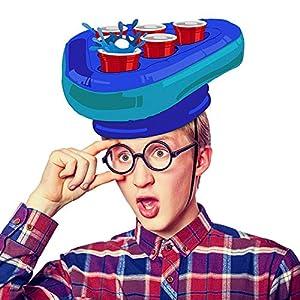 Amosz Pong Hat Game Set Aufblasbare Pong Game Set Bier Hüte Werfen Spiele Spaß Rasenspielzeug Erwachsene Kinder