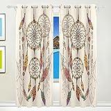 TIZORAX Bohemian Dream Catcher/Traumfänger mit Perlen und Federn Vorhänge Verdunkeln isoliert Blackout Fenster Panel Drapes für Wohnzimmer Schlafzimmer 213,4x 139,7cm, Set von 2Panels