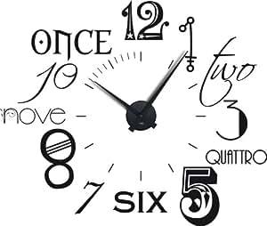 Graz Design 800054_schw_070 Horloge autocollante avec chiffres en plusieurs langues