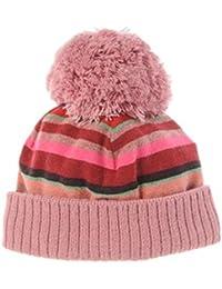 Gallo berretta bimba rosa in pile con pon pon e righe multicolor c86679b339f9