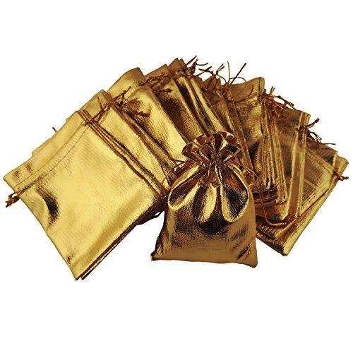 100 goldfarbene, glänzende Schmuckbeutel mit Schnur zum Zuziehen - Größe: ca. 12 x 9 cm - Goldene, kleinere Säckchen für Geschenke, Schmuckaufbewahrung, Hochzeit oder anderen Feierlichkeiten