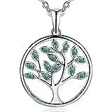 JO WISDOM collar colgante arbol de la vida plata de ley 925 verde cristales swarovski mujer joyería