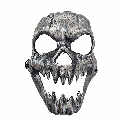 Gesichtsschutz Domino falsche Front Halloween Horror Grimassieren Geisterkopf Maske Antiquität Zähne Schädel Kopf Maske Rost Silber ()
