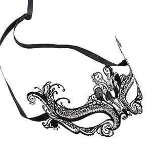 E-TING Boule de mascarade vénitienne Sexy Masque strass danse Noir Parti Métal