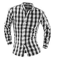 YUYU Collo button-down Camicie Comfort sottile Plaid