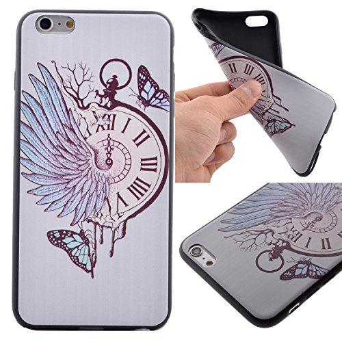 iPhone 6 Plus Hülle, iPhone 6S Plus Hülle, Anlike [Silikon Schlanke Hülle Schwarz] iPhone 6 Plus /6S Plus (5,5 Zoll) Handy Hülle Bunte Muster Design Schutzhülle Etui Bumper für iPhone 6 Plus /6S Plus (5,5 Zoll) - Uhr - Schmetterling (Uhr Bumper)