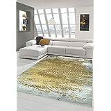 Alfombra diseñador Alfombra moderna de lana Alfombra Heather alfombra alfombra de la sala ornamento de Mostaza Amarillo Gris Größe 200 x 290 cm