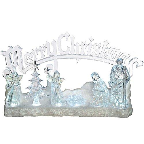 WeRChristmas LED-Dekoration Weihnachtskrippe aus Acryl, beleuchtet, mit Spieluhr und Schriftzug Merry Christmas, 38cm (Tree Ornament Christmas Animated)
