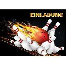 Bowling Einladungen (Set 1): 10 Er Set Bowling Einladungskarten Zum