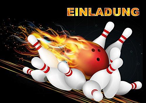 Bowling Einladungen (Set 1): 10 Er Set Bowling Einladungskarten Zum  Kindergeburtstag Oder Zum Bowling / Kegel Abend Von EDITION COLIBRI ©  (10694)