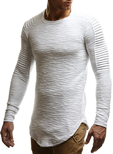 LEIF NELSON Herren Pullover Rundhals-Ausschnitt | Schwarzer Männer Longsleeve | dünner Pulli Sweatshirt Langarmshirt Crew Neck | Jungen Hoodie T-Shirt Langarm Oversize | LN6326 Ecru Large