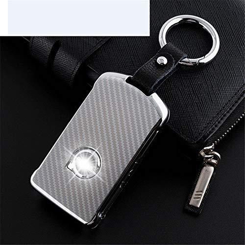 FSDFSFSFSSDF Zink Legierung Metall Leder Autoschlüssel Abdeckung Halter Tasche für Volvo Xc90 S90, Silber -