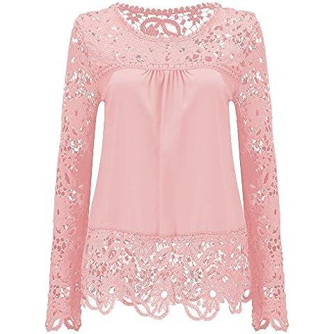 Mujeres 2 en 1 Camisa de Encaje Floral Crochet Top Shoulder Off Lace Shirt